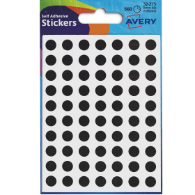 Avery- 8mm- Self- Adhesive- Dot- Stickers- 560- Labels - Black