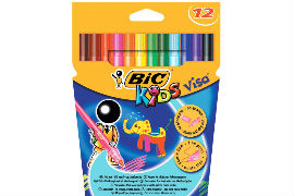 Bic-Kids- Visa- Assorted- Washable- Fine- Tip- Felt- Tip- Pens (12 Pack)