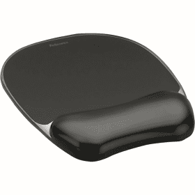 Fellowes- Crystal- Gel- Mouse- Pad- &- Wrist- Rest - Black