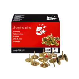 5- Star- Box- of- 150 -Brass- Drawing- Pins