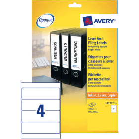 Avery- L7171-25 Lever- Arch- Filing- Labels- 200mm x 60mm - White (100 Pack)