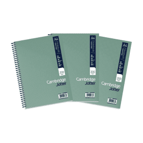 Cambridge- Jotter- A4- Wirebound- Notebook- Ruled- 200- Pages- Metallic- (3 Pack)