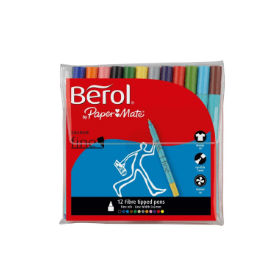 Berol- Colour- Fine- Pen- with- Assorted- Colours (Wallet- of- 12)