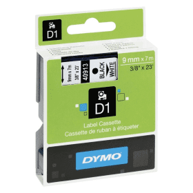 Original- Dymo- 40913, S0720680- D1- Black -on- White- Labelling- Tape- 9mm x 7m