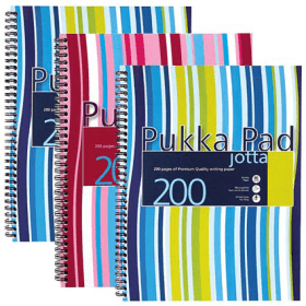 Pukka- Pad- A4- Wirebound- Notebook- Ruled -200- Pages - Assorted- Colours (3 Pack)