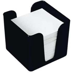 Deflecto- Cubic- Note- Block- and- Holder - Black
