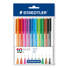 Staedtler- Rainbow- Ballpoint- Pens - Assorted- Colours- (10 Pack)
