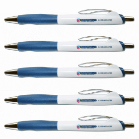Blue- Retractable- Ballpoint- Pen- (5 Pack)