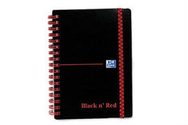 Polypropylene- Black- &- Red- A6- 90gsm- Wirebound- Ruled- Notebook -(140 Pages)